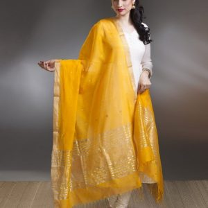 Silk Cotton Chanderi Open Lotus Dupatta