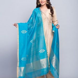 Silk Cotton Chanderi Meena Phhol Dupatta