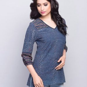 Cotton Printed Bead Detail Short Kurta