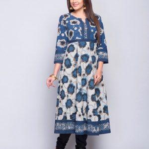 Cotton Cambric Empireline Printed Long Kurta