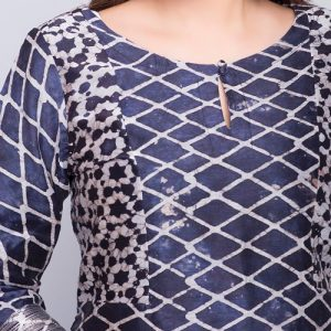 Silk Cotton Batik Print Mini Kurta