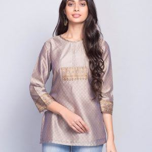 Silk Cotton Top Stitch Mukaish Detail Short Kurta