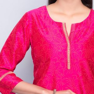 Silk Cotton Mukaish Embroidered Detail Mini Kurta