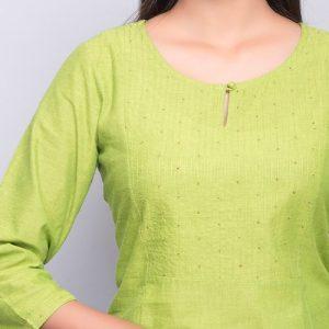 Cotton Sequin Yoke Stitch Detail Mini Kurta