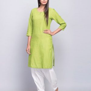Cotton Sequin Yoke Stitch Detail Mini Kurta