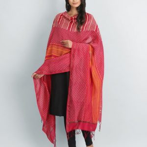 Silk Cotton Chanderi Printed Tripanel Dupatta