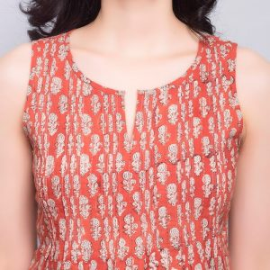 Cotton Bagru Printed Pintuck Top