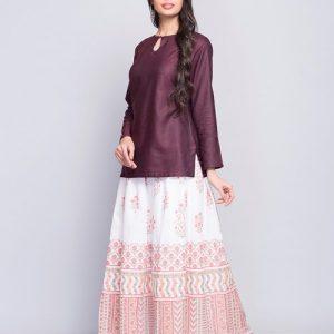 Cotton Printed Elasticated Waist Long Skirt