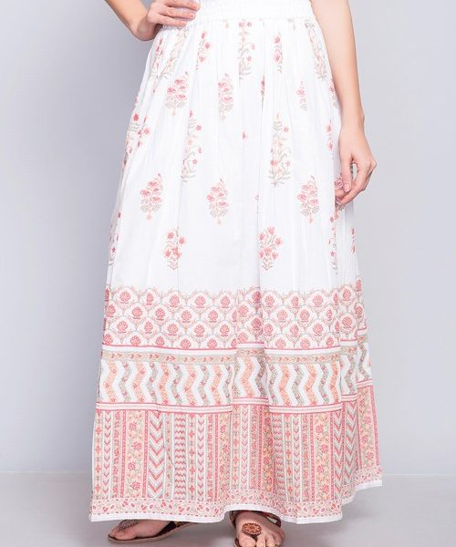 Cotton Printed Elasticated Waist Long Skirt