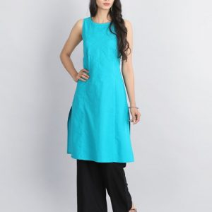 Cotton Pintuck Mukaish Boat Neck Mini Kurta