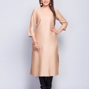Tussar Cotton Fagotting Detail Long Kurta