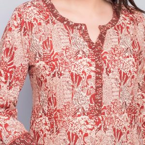 Cotton Mull Printed Contrast Trim Mini Kurta