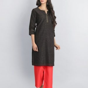 Silk Cotton Zari Stripe Trim Detail Mini Kurta