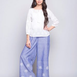 Cotton Embroidered Elasticated Pant