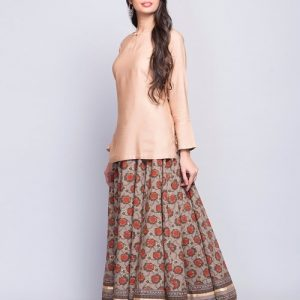 Cotton Bagru Drawstring Tassel Long Skirt