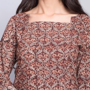 Cotton Kalamkari Contrast Border Tunic
