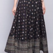 Cotton Printed Border Detail Long Skirt