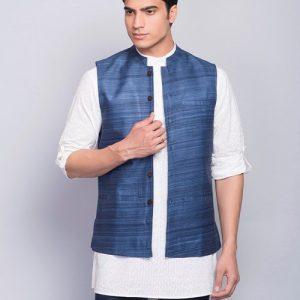 Tussar Ghicha Plain Nehru Jacket