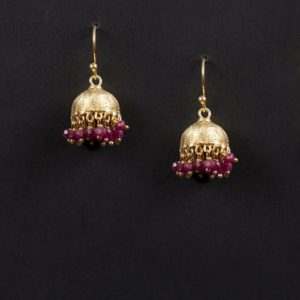 Silver Anusuya ES 1035 Ruby Jhumka Earrings