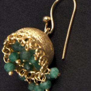 Silver Anusuya ES 1035 Emerald Jhumka Earrings