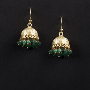 Silver Anusuya ES 1035 Emerald Jhumka Earrings
