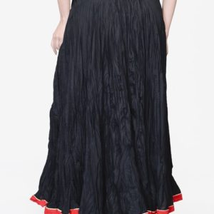 Cotton Mull Crinkle Contrast Trim Long Skirt