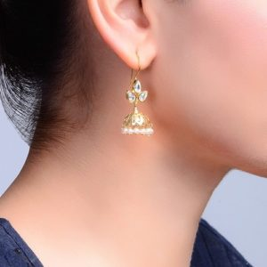 Silver Anusuya ES 2079 Crystal Jhumka Earrings