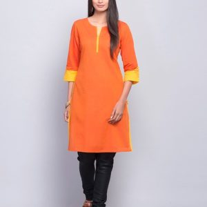 Cotton Contrast Embroidered Mini Kurta