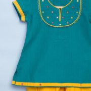 Cotton Embroidered Yoke Churidar Set