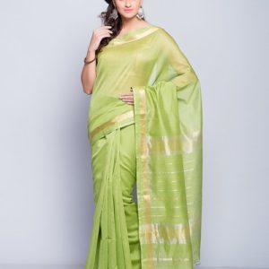 Silk Cotton Maheshwari Gold Patti Sari