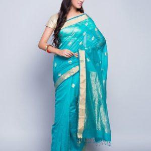Silk Cotton Chanderi Arrow Buta Sari