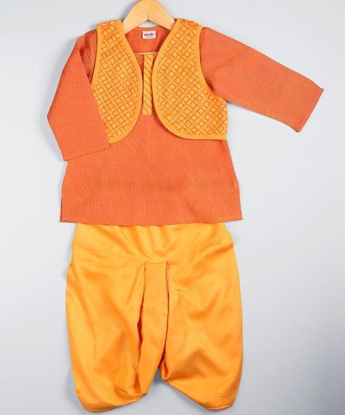 Tussar Cotton Dobby Printed Jacket Dhoti Set