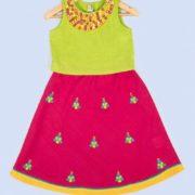 Cotton Mirror Embroidery Lehenga Set