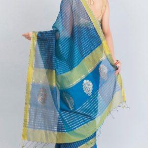Silk Cotton Chanderi Mor Palla Sari