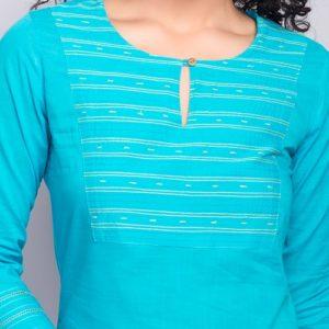 Cotton Slub Embroidery Detail Mini Kurta