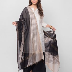Silk Cotton Dabu Printed Dupatta