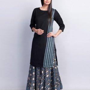 Cotton Printed Tassel Long Skirt