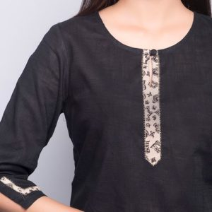 Cotton Slub Printed Border Trim Mini Kurta