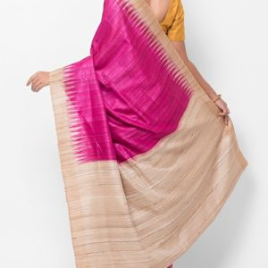 Silk Tussar Temple Border Sari