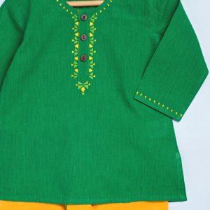 Cotton Embroidered Neck Dhoti Set