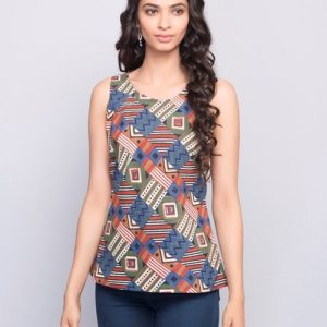 Cotton Printed Racer Back Top