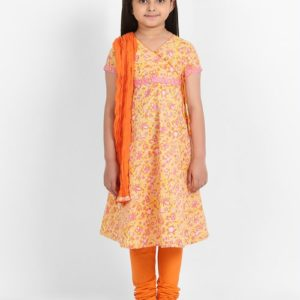 Cotton Printed Anghrakha Churidar Set