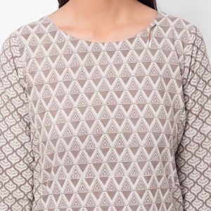 Cotton Cambric Dabu Printed Long Kurta