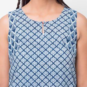 Cotton Cambric Combination Dabu Mini Kurta