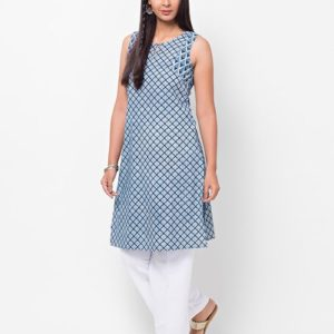 Cotton Cambric Combination Dabu Mini Kurta
