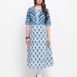 Cotton Mull Dabu Printed Long Kurta