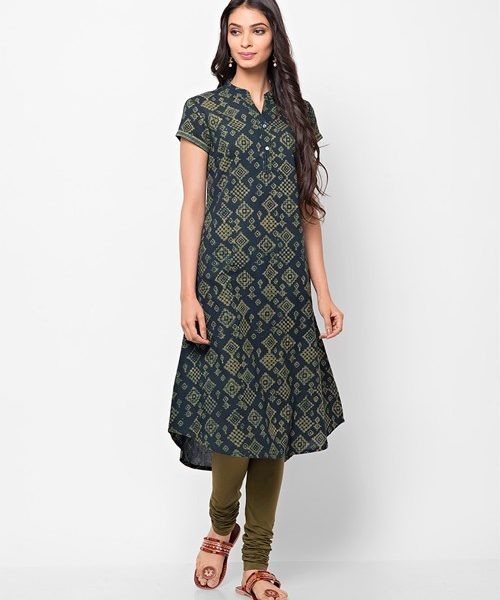 Cotton Cambric Dabu Printed Long Kurta