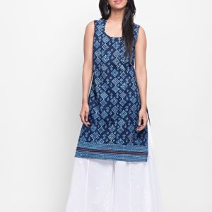 Cotton Cambric Contrast Trim Mini Kurta