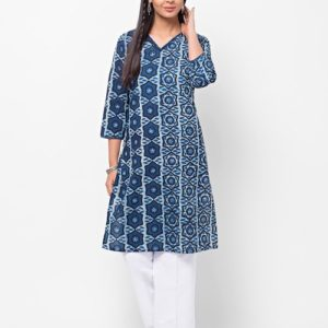 Cotton Cambric Combination Panel Mini Kurta