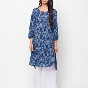 Cotton Printed Aari Embroidered Mini Kurta